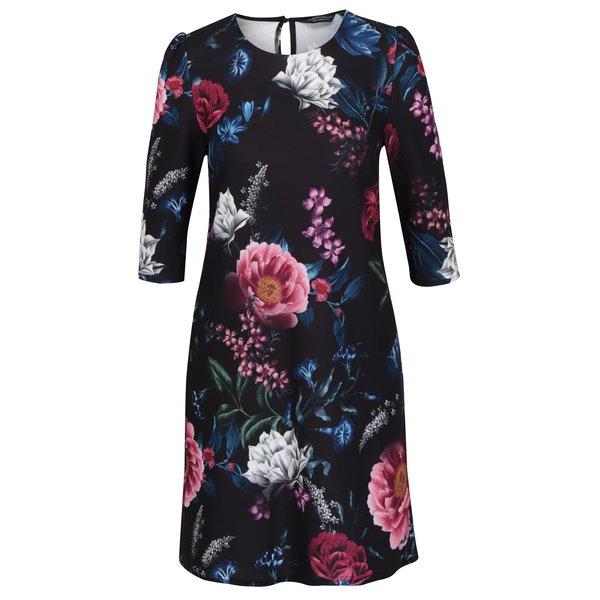 Rochie neagra cu print floral si maneci 3/4 Dorothy Perkins