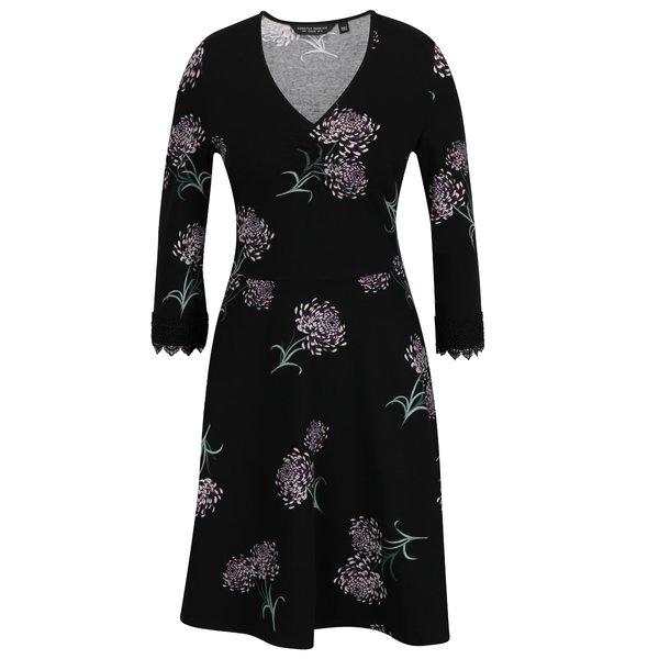 Rochie neagra cu print floral si dantela Dorothy Perkins