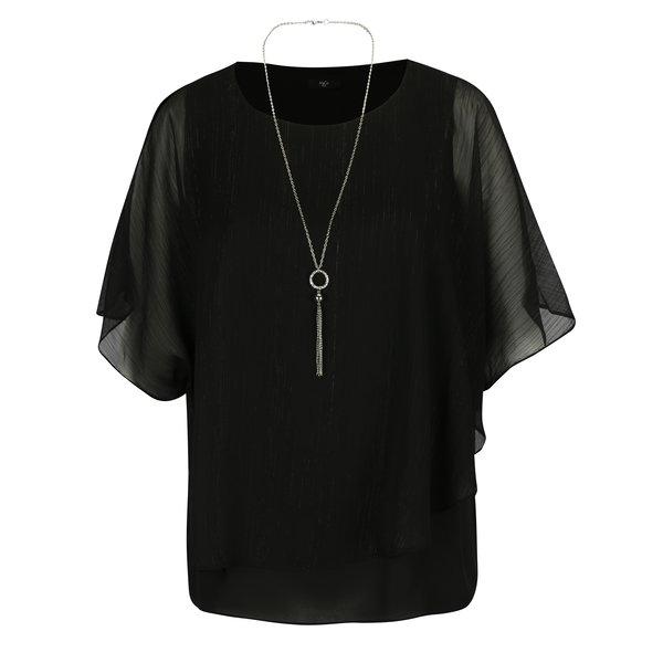 Bluza neagra cu fir metalic si colier M&Co