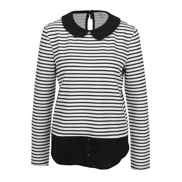 Bluza neagra in dungi cu terminatie de camasa ONLY Carmella