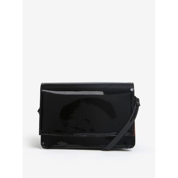 Geanta crossbody neagra cu aspect lacuit M&Co