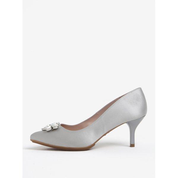 Pantofi gri cu toc si aplicatie decorativa - OJJU