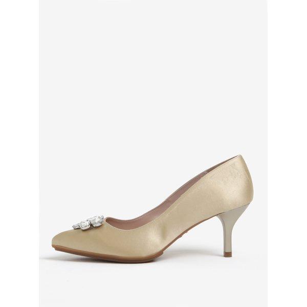 Pantofi bej cu toc si aplicatii decorative - OJJU