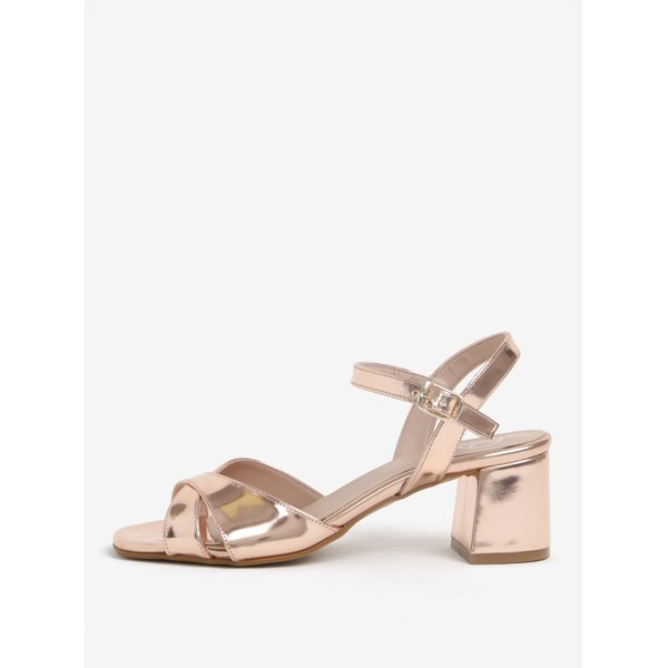 Sandale auriu roze cu toc si bareta pe glezna – OJJU