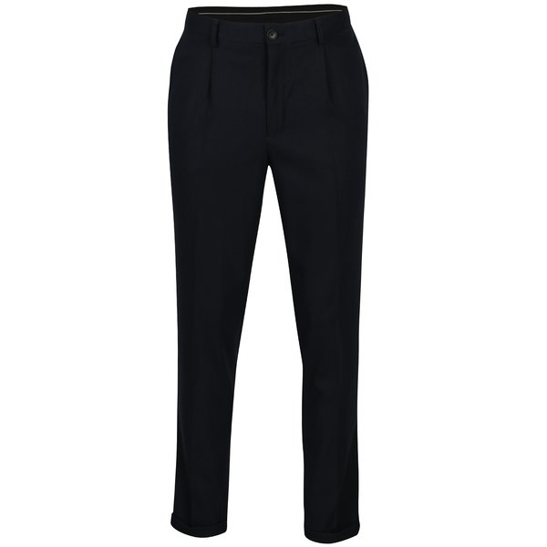 Pantaloni bleumarin cu model discret - Selected Homme Tapered