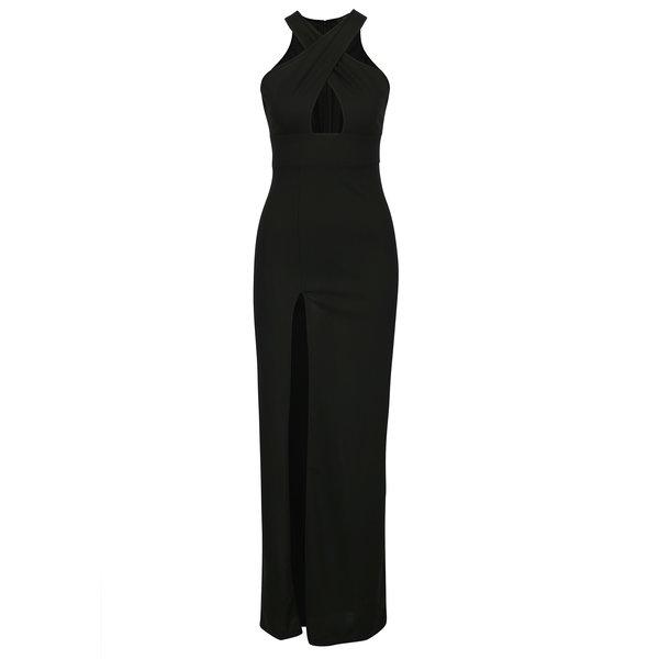 Rochie maxi neagra cu slit si bretele incrucisate in zona decolteului AX Paris
