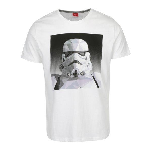 Tricou slim fit alb cu print Stormtrooper s.Oliver