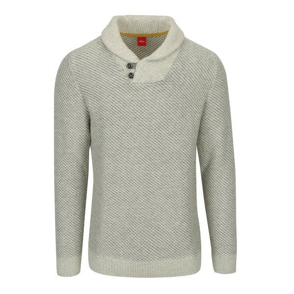 Pulover tricotat bej cu model si guler pentru barbati s.Oliver