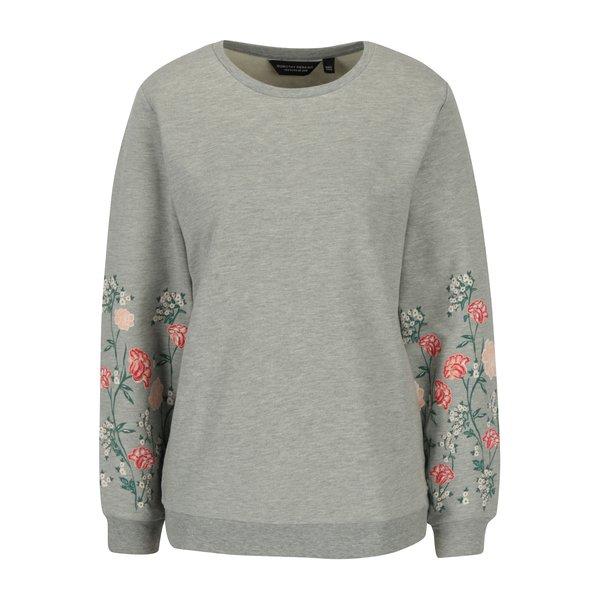 Bluza gri melanj cu print floral pe maneci Dorothy Perkins
