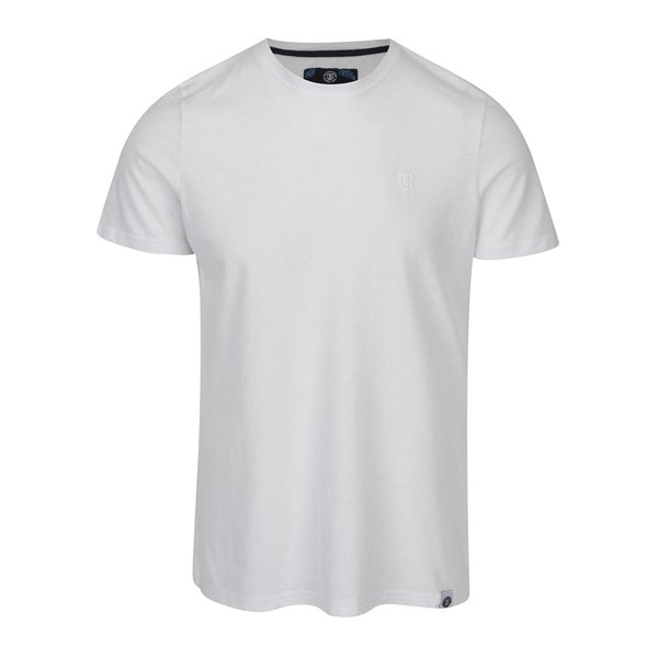 Tricou basic alb cu logo brodat pentru barbati Jimmy Sanders
