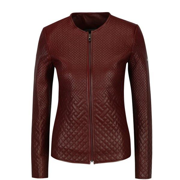 Jacheta matlasata bordo din piele pentru femei Jimmy Sanders
