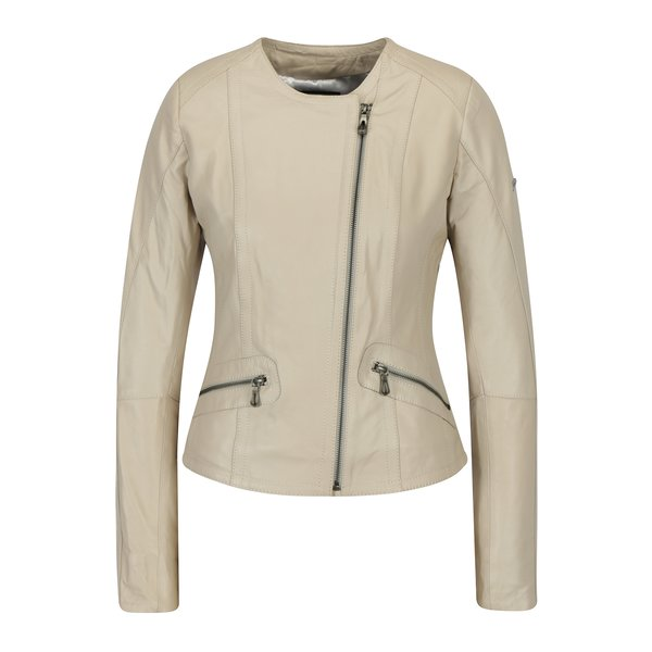 Jacheta bej din piele cu fermoar asimetric pentru femei - Jimmy Sanders