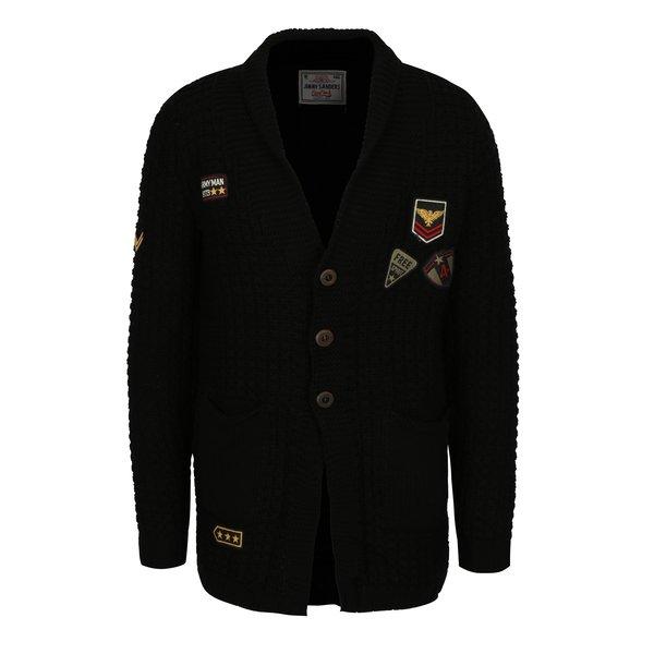 Cardigan negru cu aplicatii din amestec de lana pentru barbati Jimmy Sanders
