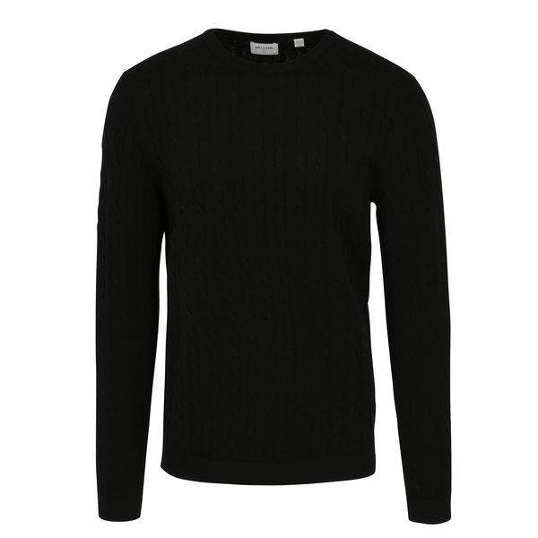 Pulover tricotat negru cu torsade - ONLY & SONS Alex