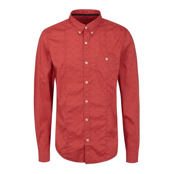 Camasa rosie cu print abstract pentru barbati - s.Oliver