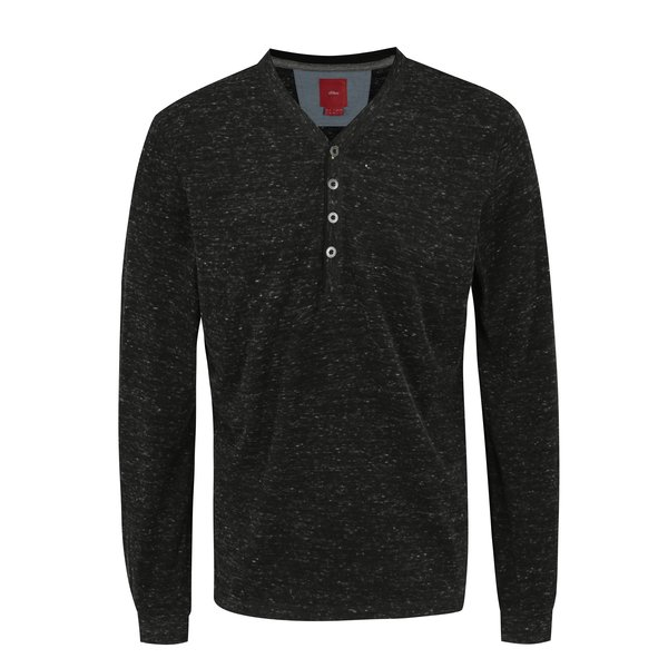 Bluza slim fit gri inchis cu nasturi pentru barbati - s.Oliver