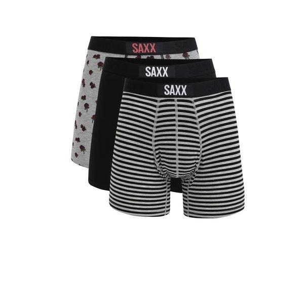 Set de 3 perechi de boxeri alb negru & gri - SAXX Vibe Modern fit