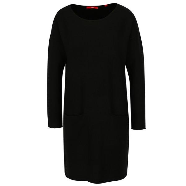 Rochie - pulover neagra cu buzunare - s.Oliver