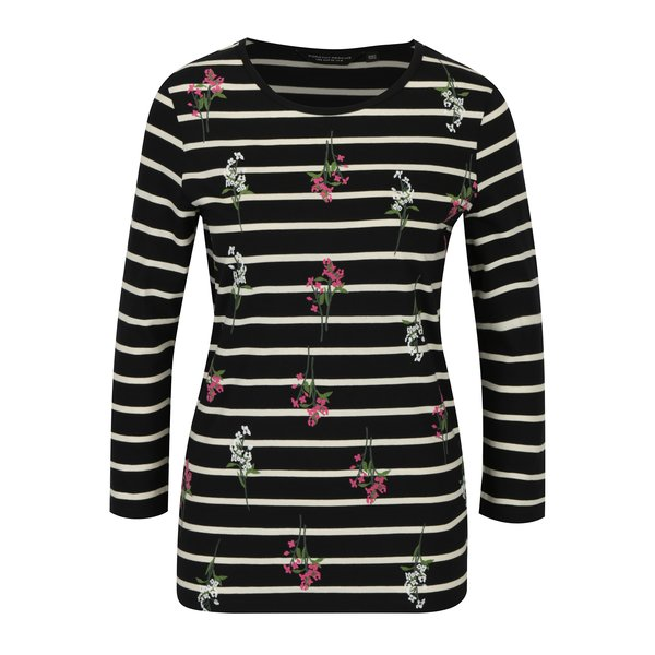 Bluza bleumarin in dungi cu broderie florala si maneci 3/4 Dorothy Perkins