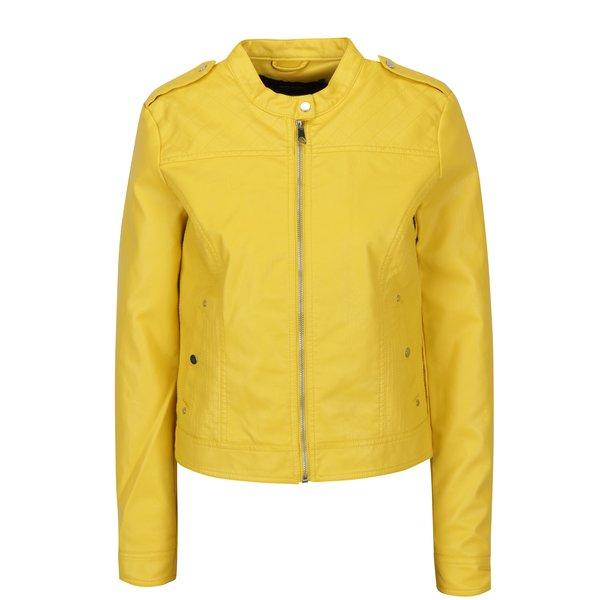 Jacheta biker galbena din piele sintetica VERO MODA Alice
