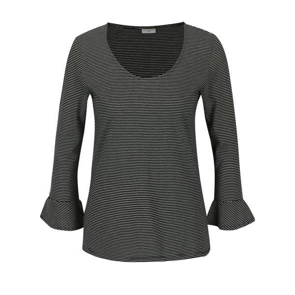 Bluza neagra in dungi cu maneci clopot Jacqueline de Yong Cloud