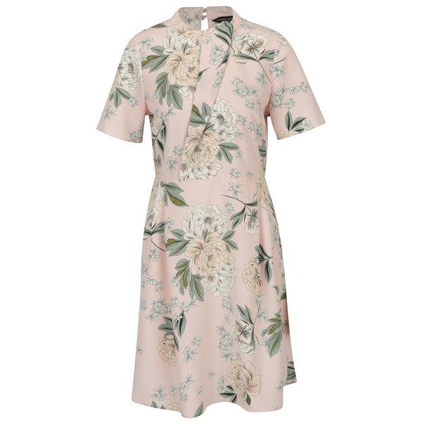 Rochie roz deschis cu print floral si talie elastica - Dorothy Perkins