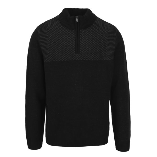 Pulover negru cu guler inalt si fermoar - Burton Menswear London