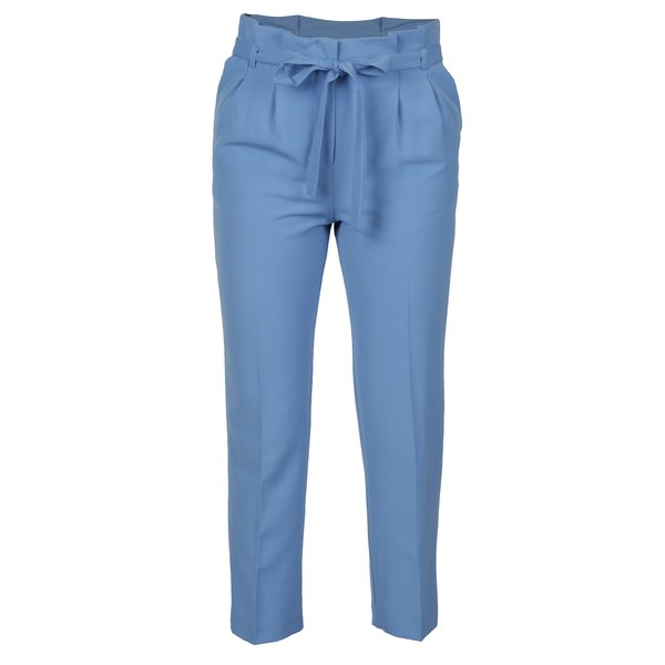 Pantaloni cropped albastri cu pliuri in talie Miss Selfridge