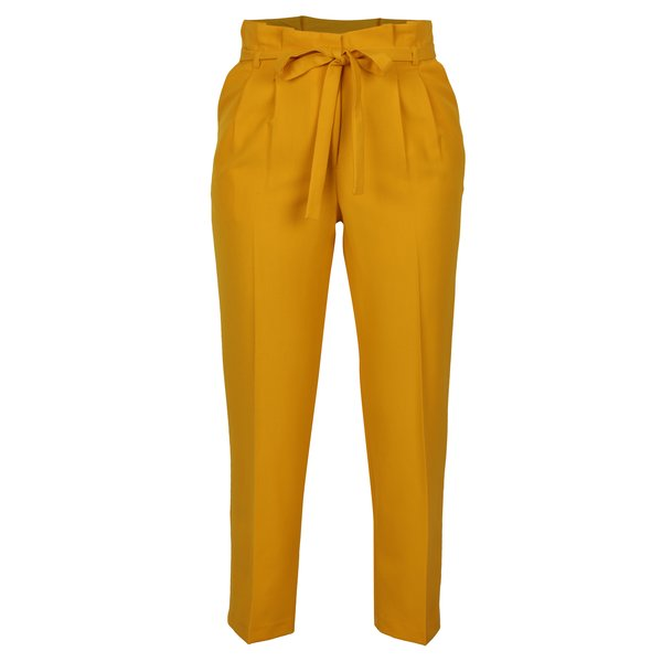 Pantaloni cropped galben mustar cu pliuri in talie Miss Selfridge