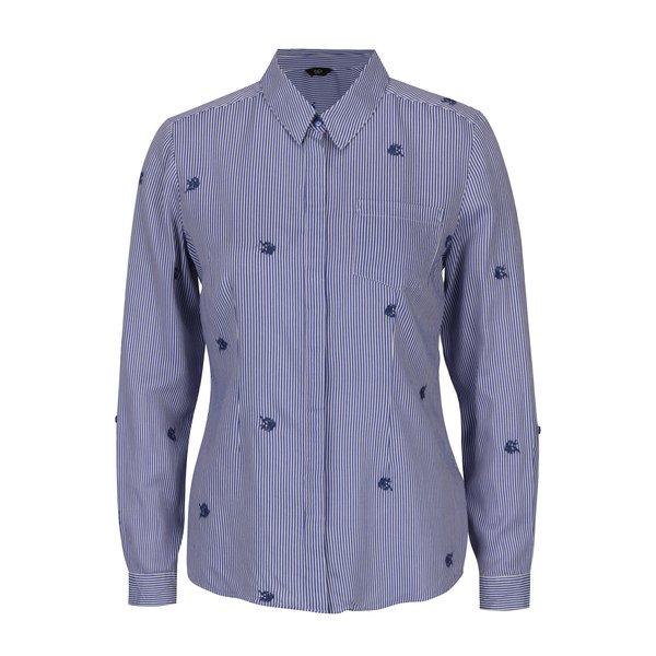 Camasa albastra cu broderie florala si dungi albe - M&Co