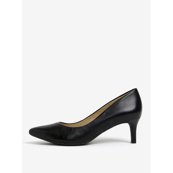 Pantofi negri cu toc mic din piele Geox Elina