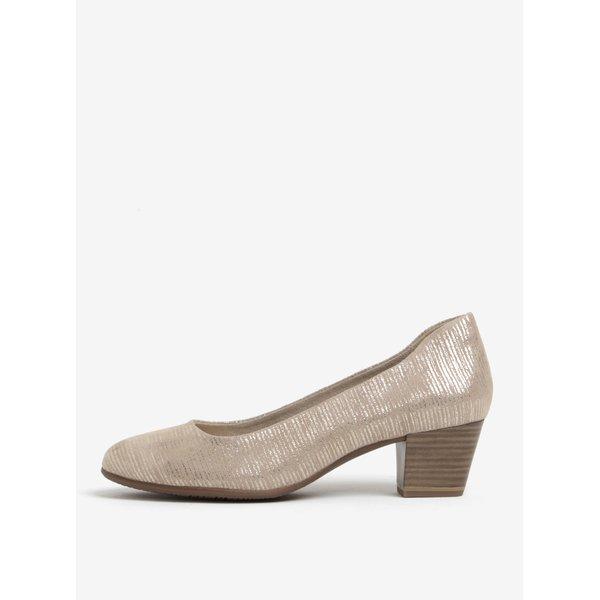 Pantofi maro din piele intoarsa cu toc stabil – Tamaris