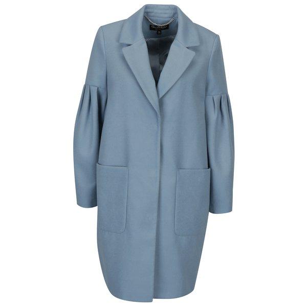 Palton gri albastrui cu maneci balon Miss Selfridge