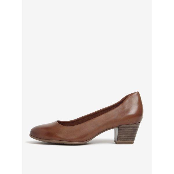 Pantofi maro din piele naturala cu toc stabil - Tamaris