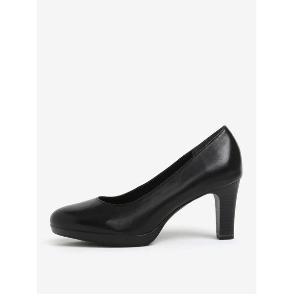 Pantofi negri din piele naturala cu toc si varf rotund - Tamaris