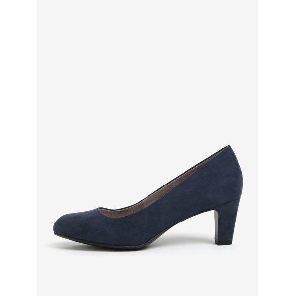 Pantofi bleumarin cu toc mediu si varf rotund - Tamaris