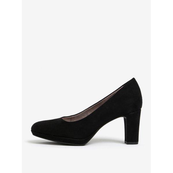 Pantofi negri cu varf rotund si toc inalt - Tamaris