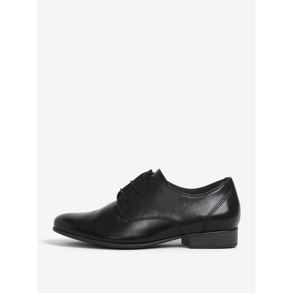 Pantofi negri din piele naturala cu sireturi - Tamaris