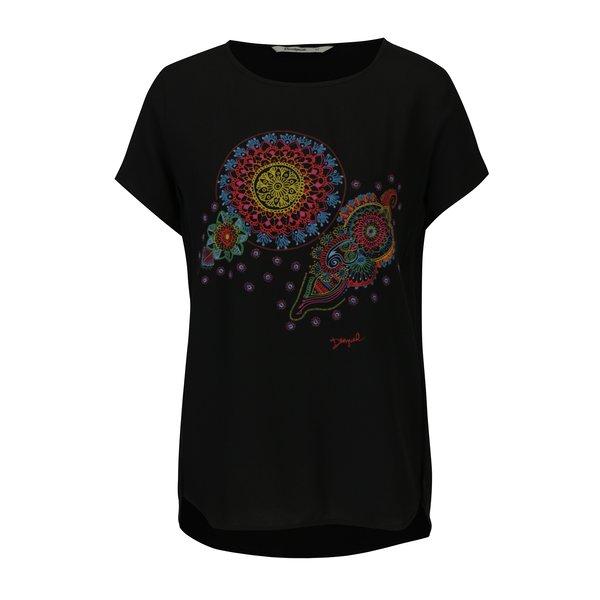 Bluza neagra cu print ornamental Desigual More Fantasy
