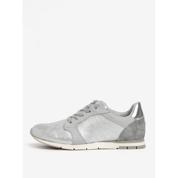 Pantofi sport argintii cu varf rotund Tamaris