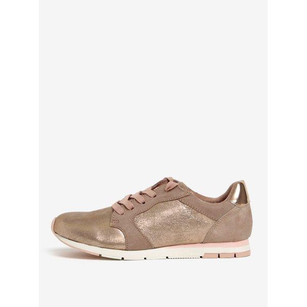 Pantofi sport auriu roze cu aspect metalic Tamaris