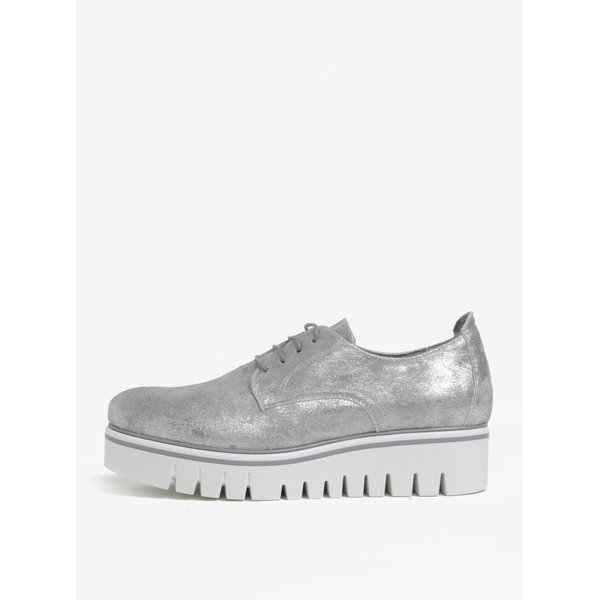 Pantofi argintii cu platforma si aspect stralucitor Tamaris