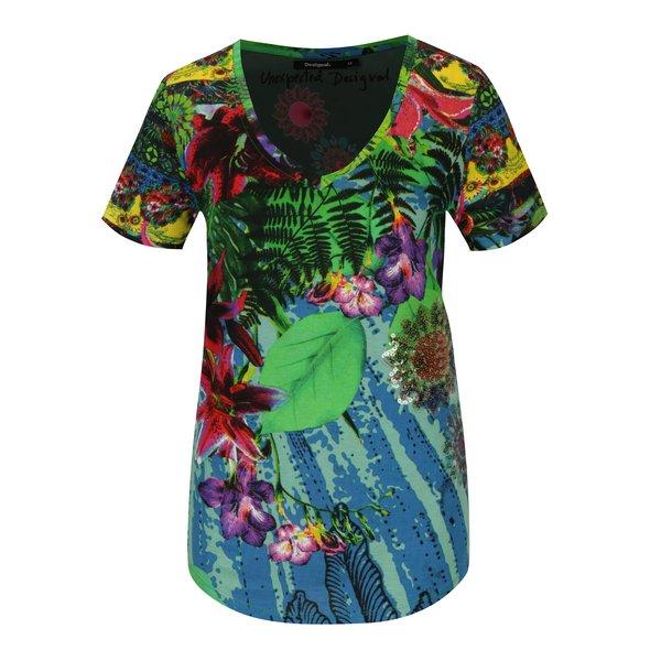 Tricou multicolor cu print tropical si paiete Desigual Logical song
