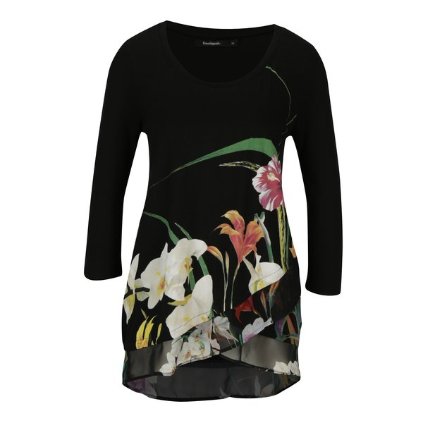 Bluza neagra cu print floral si terminatie suprapusa Desigual Courtney