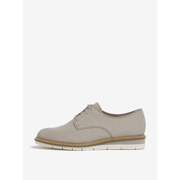 Pantofi bej din piele cu platforma Tamaris