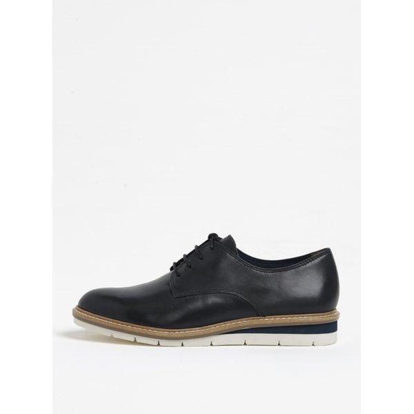 Pantofi bleumarin din piele cu platforma Tamaris