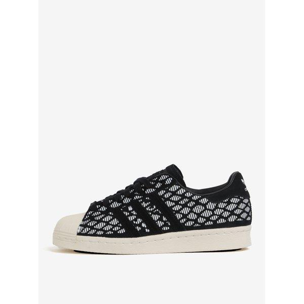 Pantofi sport din piele intoarsa alb & negru pentru femei - adidas Originals Superstar