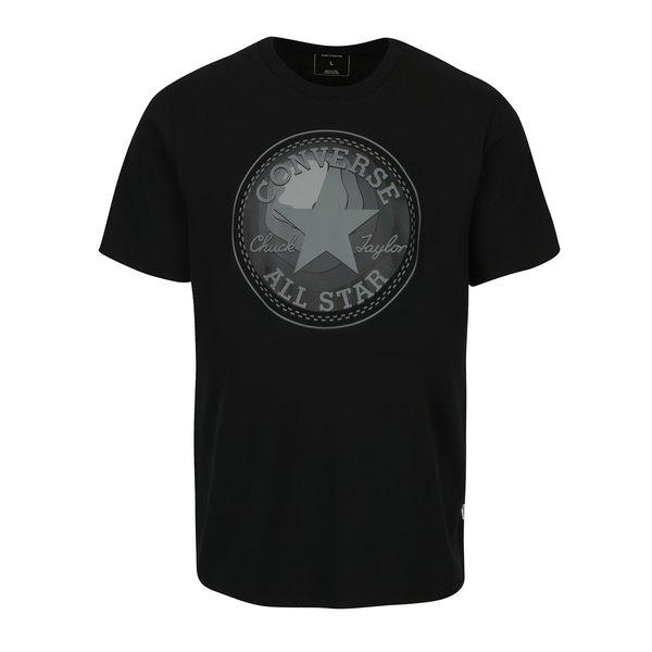 Tricou negru cu logo pentru barbati - Converse Dimensional Layer Chuckpatch