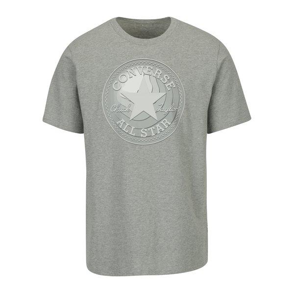 Tricou gri melanj cu print logo pentru barbati - Converse Dimensional Layer Chuckpatch