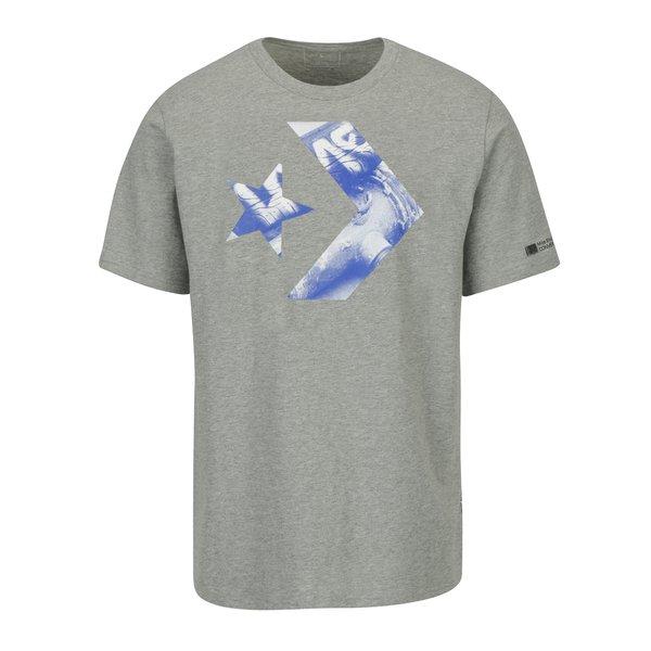 Tricou gri melanj din bumbac cu print pentru barbati - Converse Cons Star Chevron Photo